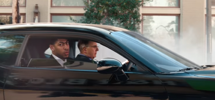 Nba S Anthony Davis Drifting With A Dodge Challenger For H R Block