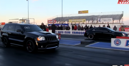 Drag Race - Superchared Jeep SRT vs Bolt on Cadillac CTS-V (1)