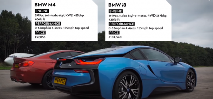 Top Gear Drag Race U2013 BMW I8 Vs BMW M4 U2013 Video