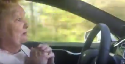 70 Year Old Lady tries out Self-Driving Tesla (1)