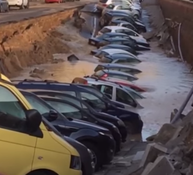 200-meter-long Sinkhole In Florence, Italy Eats Up Cars