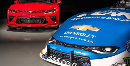 Chevrolet and 16-time NHRA champion John Force unveil the all-new 2016 Camaro SS Funny Car Tuesday, May 17, 2016 in Brownsburg, Indiana. The new Funny Car body is the first based on the sixth-generation Camaro SS. Force will race the new Funny Car this weekend at the NHRA Kansas Nationals in Topeka, Kansas. ForceÕs teammates Courtney Force and Robert Hight will introduce new Camaro SS Funny Cars later this season. (Photo by Eric Meyer for Chevy Racing)