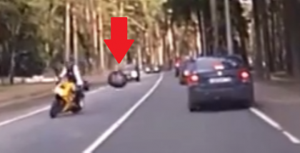 Wheel comes off a car hits another car then hits a motorcycle (1)