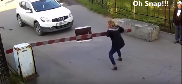 Woman vs Parking Barrier Battle (1)