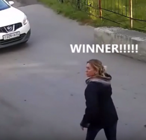Woman vs Parking Barrier Battle (2)