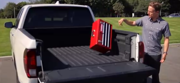 2017 honda ridgeline toolbox drop test vs chevy silverado and ford f ...