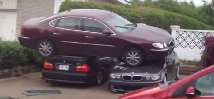 Buick parked on top of two BMW's – Video
