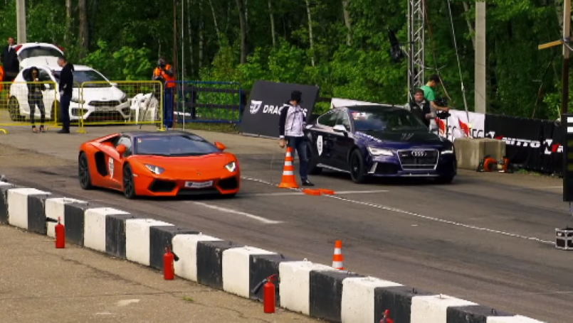 Drag Race Audi Rs7 Vs Lamborghini Aventador Vs Porsche 911 Turbo S
