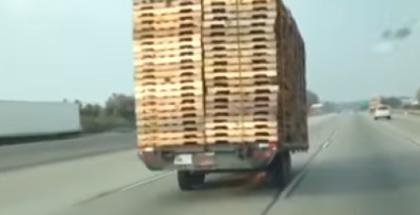 Trailer crusing down highway without car (1)