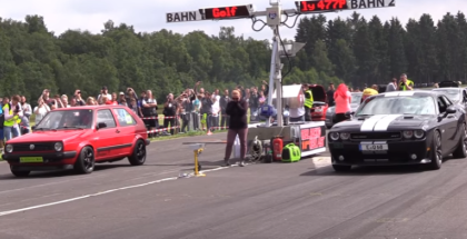 Drag Race - 600HP VW Golf 2 VR6 TURBO vs Audi R8 vs Dodge Challenger SRT8 (1)