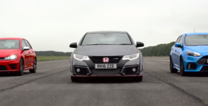 Drag Race - Ford Focus RS vs Honda Civic Type R vs VW Golf R (1)
