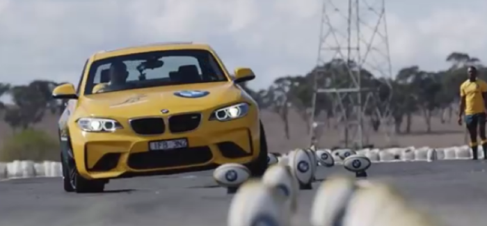 BMW M2 Rugby Team Driving and Throwing Challenge – Video