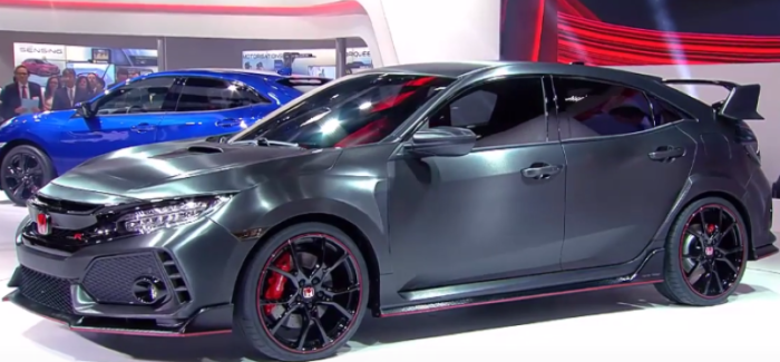 honda civic type r prototype and 2017 civic hatchback unveiling at paris motor show video. Black Bedroom Furniture Sets. Home Design Ideas