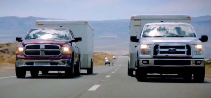 Towing Drag Race – Ford F 150 vs Dodge Ram vs Chevy Silverado – Video