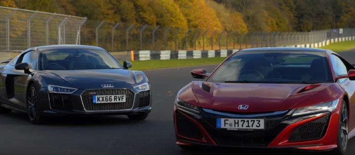 2017 Honda NSX vs Audi R8 V10 Plus – Video