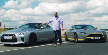 Nissan GT-R takes on Aston Martin V12 Vantage S (1)