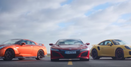 2017 Honda NSX vs Porsche 911 Turbo vs Nissan GT-R (1)