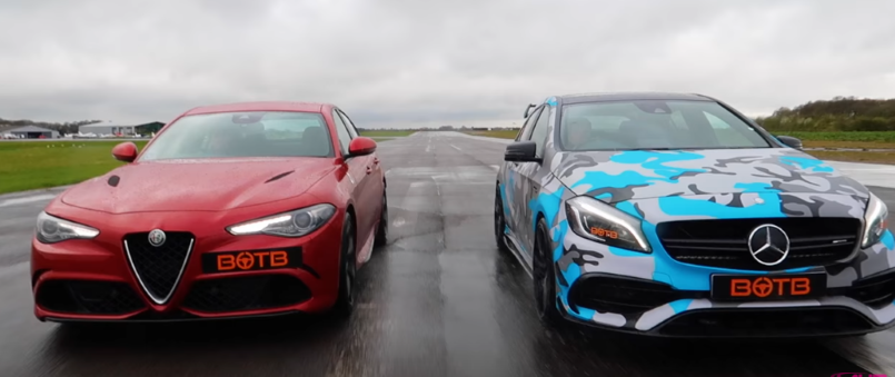 Alfa romeo giulia quadrifoglio vs mercedes a45 amg video for Alfa romeo vs mercedes benz