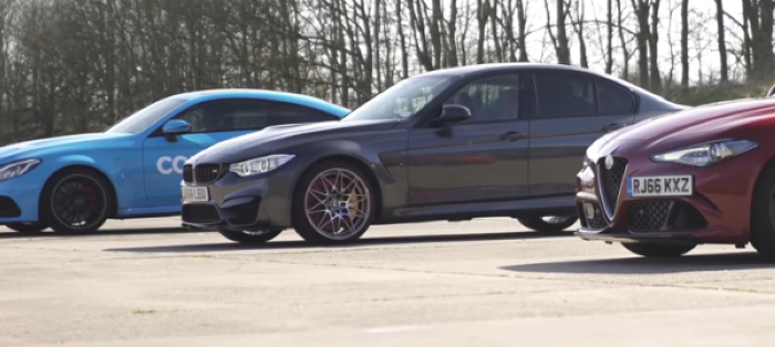 Drag Race – BMW M3 v Mercedes-AMG C63 S v Alfa Romeo Giulia QV – Video