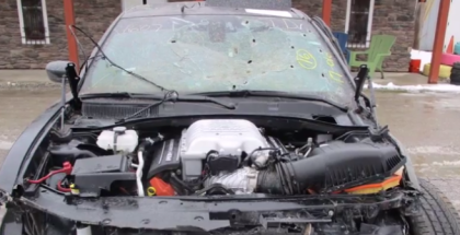 Crashed Dodge Charger Hellcat With Bullet Holes