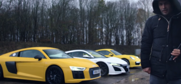 Top Gear Honda NSX vs Audi R8 V10 vs Porsche 911 Turbo Chris Harris Review – Video