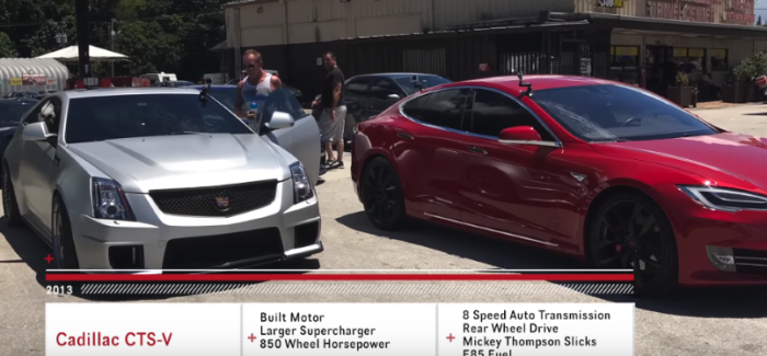 1000HP Cadillac CTS-V vs Tesla Model S P100D Ludicrous – Video