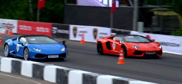 Drag Race – Lamborghini Aventador Roadster vs Huracan Spyder – Video