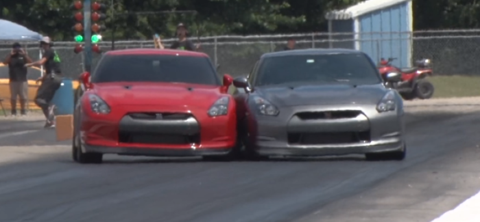 Drag Racing Nissan GTR's Tap While Racing – Video