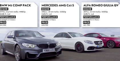 Top Gear Drag Race - BMW M3 vs Merc C63 S vs Alfa Giulia (1)