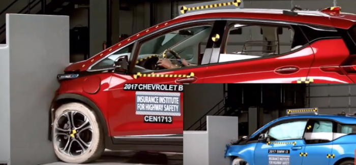 2017 Chevy Bolt vs 2017 BMW i3 Crash Test & Rating – Video