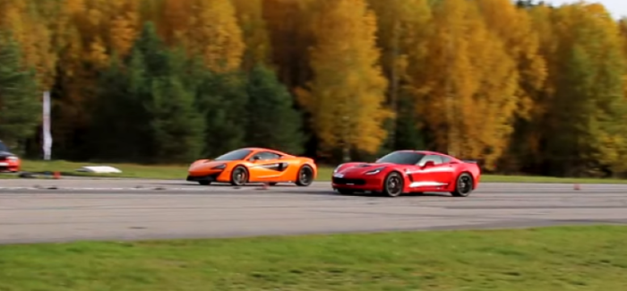 659HP Corvette Z06 7-speed manual vs 570HP McLaren 570S – Video