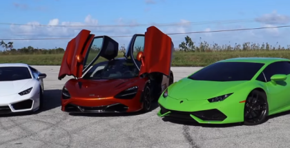 McLaren 720S vs 900 HP Twin Turbo and VF Supercharged Lamborghini Huracans (1)