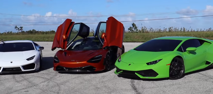 McLaren 720S vs 900 HP Twin Turbo and VF Supercharged Lamborghini Huracans – Video