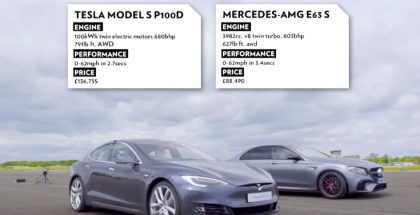 Top Gear Tesla Model S P100D vs Merc-AMG E63 S Drag Race (1)