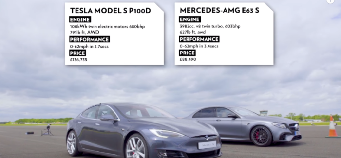 Top Gear Tesla Model S P100D vs Merc-AMG E63 S Drag Race – Video