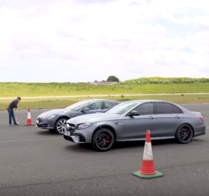 Top Gear Tesla Model S P100D vs Merc-AMG E63 S Drag Race (2)