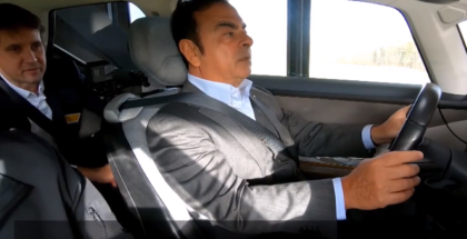 Carlos Ghosn Test Driving The Renault SYMBIOZ