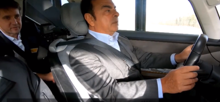 Carlos Ghosn Test Driving The Renault SYMBIOZ – Video