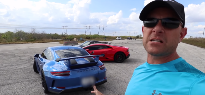 Porsche 911 GT3 991.2 vs 991.1 vs Lamborghini Huracan Drag Racing – Video