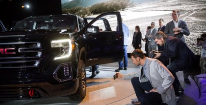Media get a closer look at the 2019 GMC Sierra AT4 at its unveiling Monday, March 26, 2018 in New York, New York. The AT4 comes standard with a factory installed 2-inch suspension lift that provides additional ground clearance and low-range four-wheel-drive gearing for extremely tough conditions. The Sierra ATR4 also features technologies like Traction Select System, Multi-Color Head-Up Display, Surround Vision and ProGrade Trailering System with Trailering App. The GMC Sierra AT4 goes on sale this fall. (Photo by Michael Appleton for GMC)