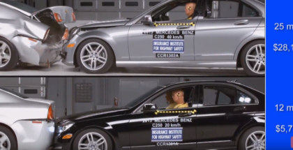 Mercedes C-Class Crash Test At 25mph vs 12mph