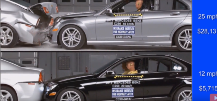 Mercedes C-Class Crash Test At 25mph vs 12mph – Video