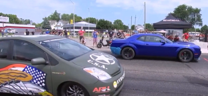 Dodge Challenger Demon vs Toyota Prius With Hellcat Engine Drag Race – Video
