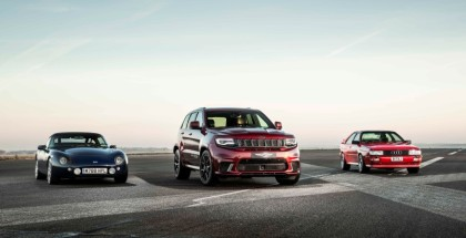 Jeep Grand Cherokee Trackhawk vs Audi Quattro and TVR Griffith Drag Race