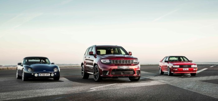 Jeep Grand Cherokee Trackhawk vs Audi Quattro and TVR Griffith Drag Race – Video