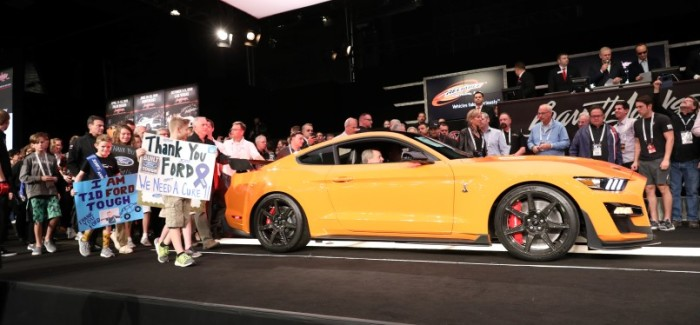 The very first model of the most powerful factory Mustang ever was auctioned for $1.1 million as it goes for the famed muscle car's biggest win ever – trying to help researchers cure children with type 1 diabetes. Craig Jackson, chairman and CEO of Barrett-Jackson, was the winning bidder.